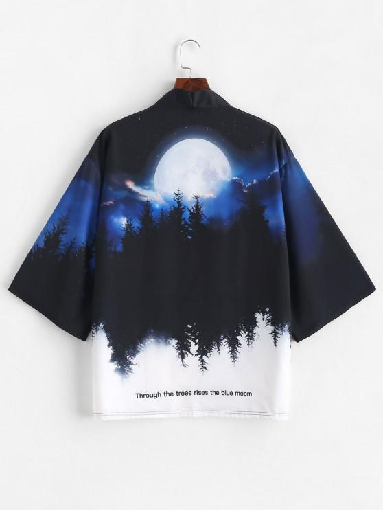 fancy Rising Moon Through Tree Forest Print Open Front Kimono Cardigan - COBALT BLUE L