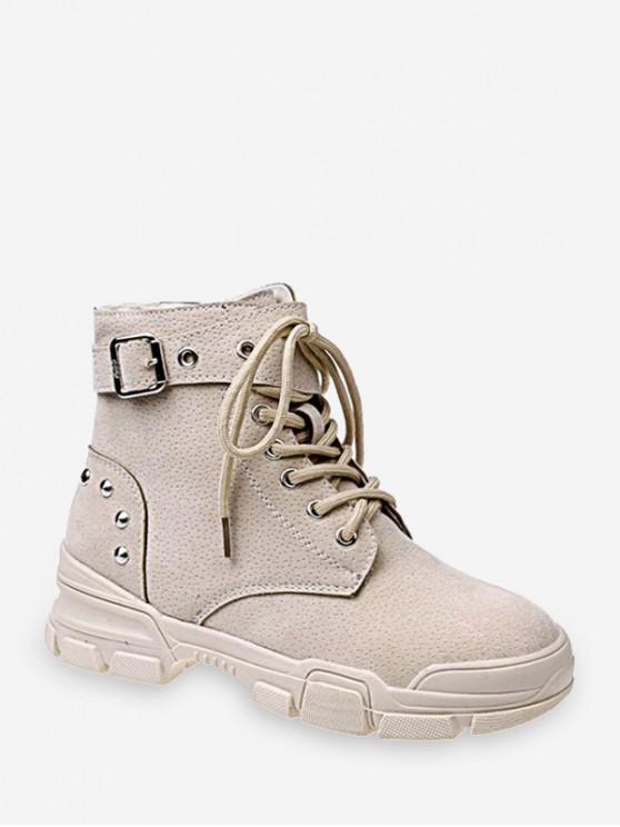 affordable Lace Up Ankle Boot with Studs - BEIGE EU 40