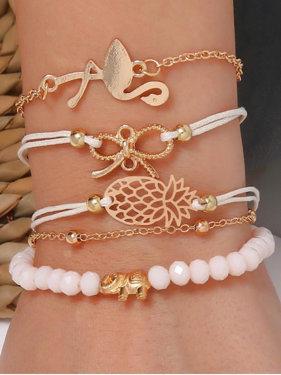 trendy 5Pcs Bowknot Pineapple Flamingo Bracelet Set - GOLD