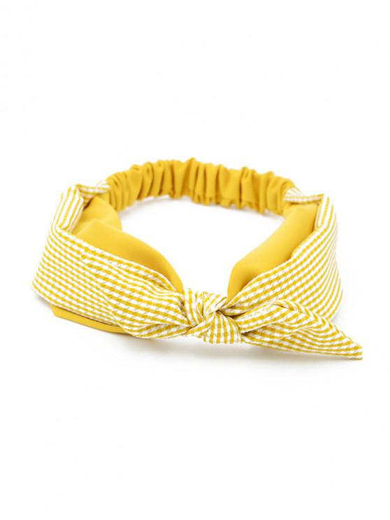ladies Bowknot Plaid Elastic Double Layer Headband - YELLOW