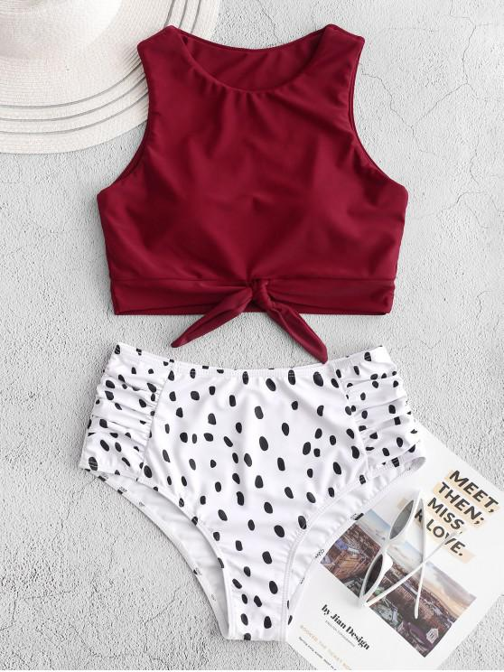 shop ZAFUL Dalmatian Print Knot Ruched Tankini Swimsuit - RED XL