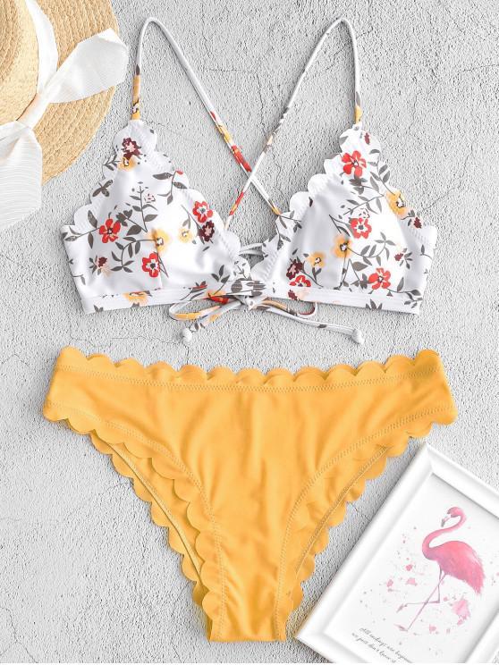 ZAFUL Bikini-Badeanzug mit floraler Schnürung und Wellenschliff - Niedliches Gummi Gelb M