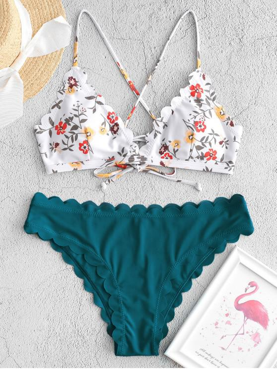 chic ZAFUL Floral Lace-up Scalloped Bikini Swimsuit - PEACOCK BLUE S