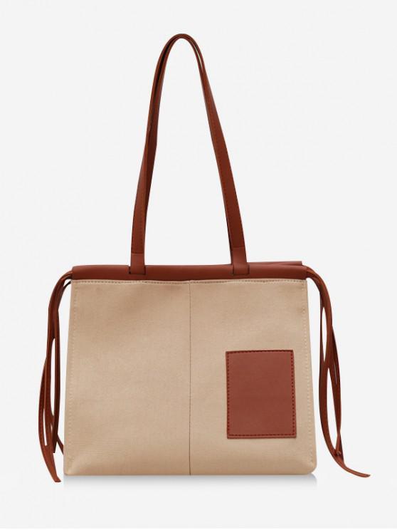 lady Square Tassel Design Canvas Tote Bag - KHAKI