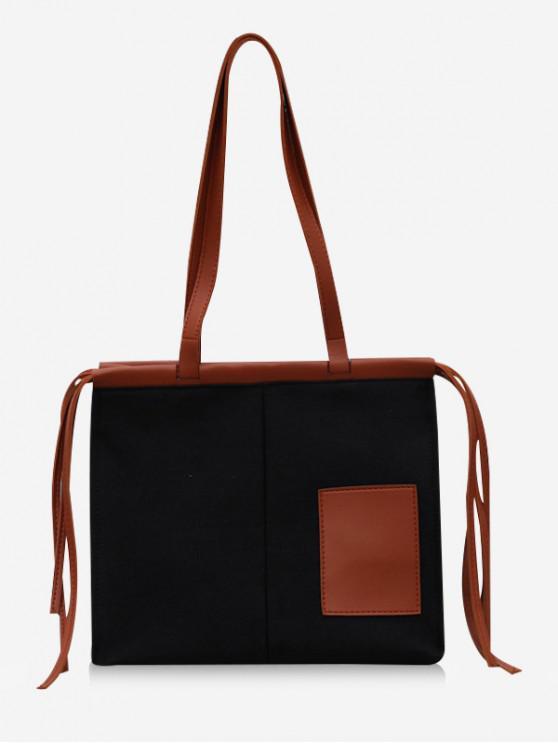 unique Square Tassel Design Canvas Tote Bag - BLACK