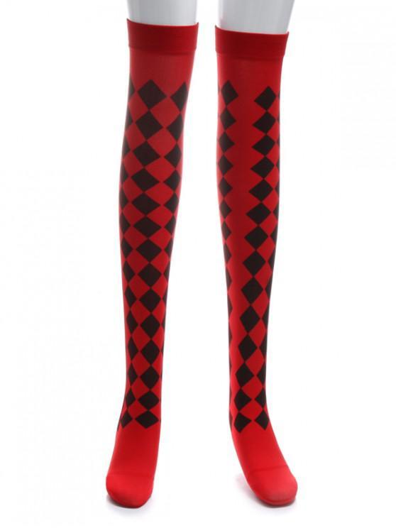 Chaussettes d'Halloween Longueur à Genou Losange Fantôme - Rouge Saint-Valentin