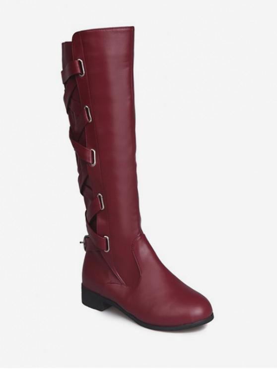 背交叉PU膝蓋高筒靴 - 紅酒 歐盟38