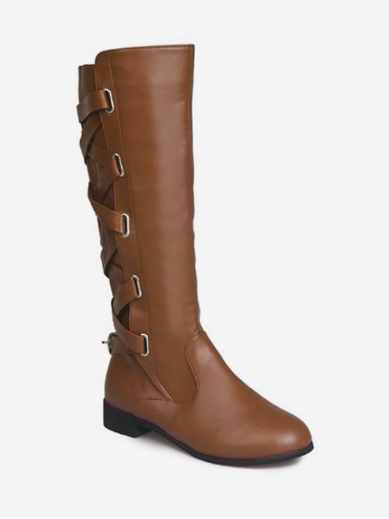 背交叉PU膝蓋高筒靴 - 淺褐色 歐盟37