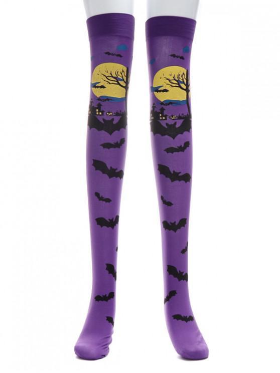 affordable Halloween Bat Print Knee Length Socks - PURPLE