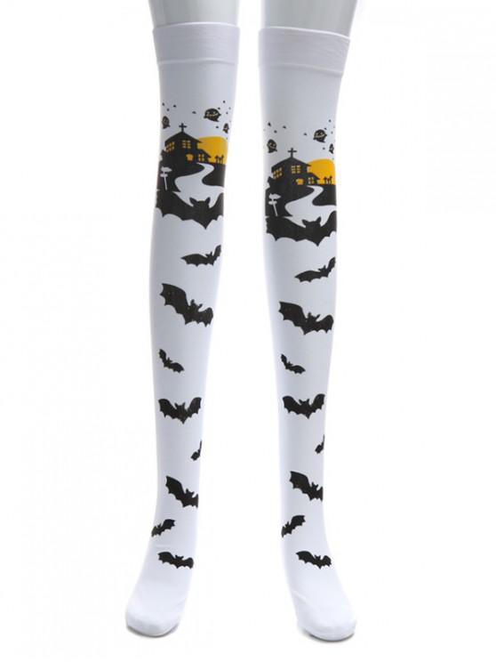 buy Halloween Bat Over Knee Length Socks - WHITE