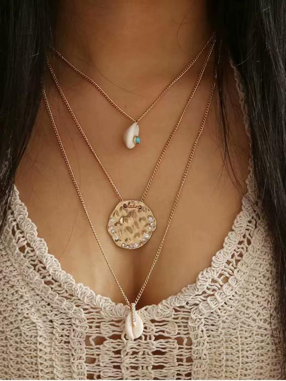 best Seashell Rhinestone Decoration Chain Necklace - GOLD