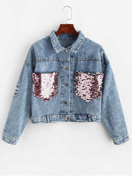 Betrübte Paillettenbesetzt Taschen Jeansjacke - Blau M