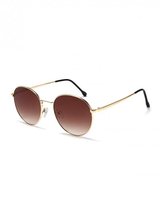 women Round Shape Alloy Frame Sunshade Sunglasses - BLOOD RED