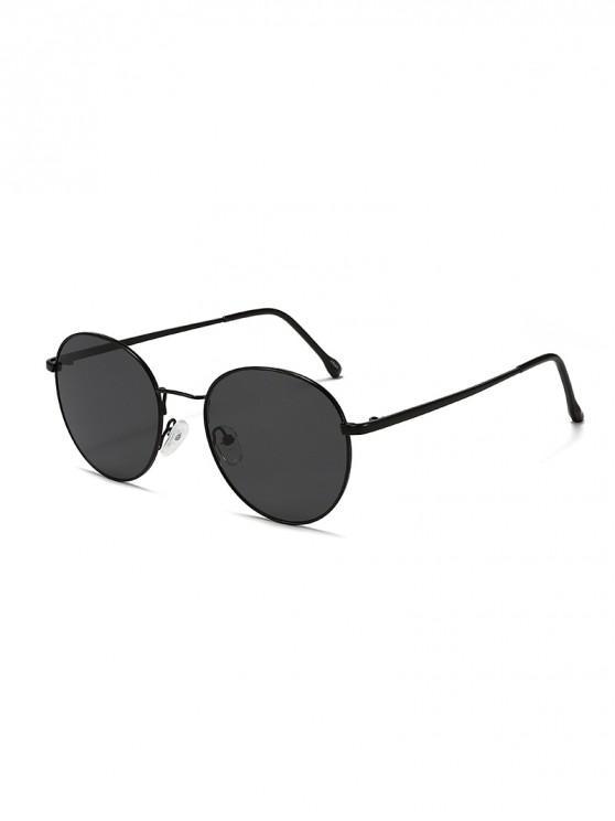 outfit Round Shape Alloy Frame Sunshade Sunglasses - BLACK