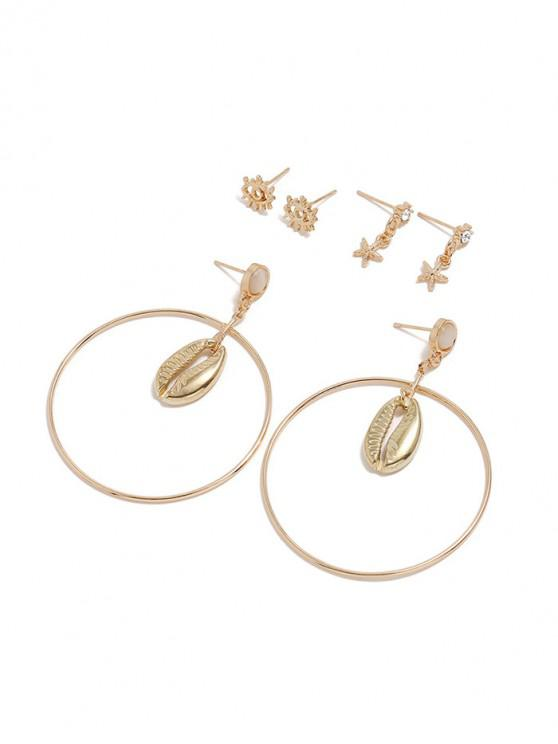 women 3Pairs Eye Starfish Shell Circle Earrings Set - GOLD