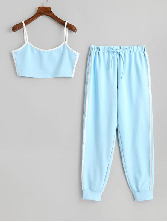 hot Side Striped Cropped Top And High Waist Pants - BLUE L