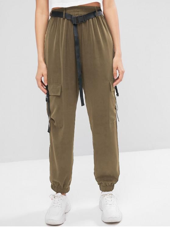 shop ZAFUL Buckled Belted Solid Jogger Pants - DARK KHAKI M