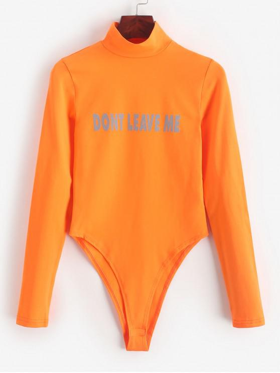 fancy Letter Print Mock Neck High Cut Bodysuit - ORANGE S