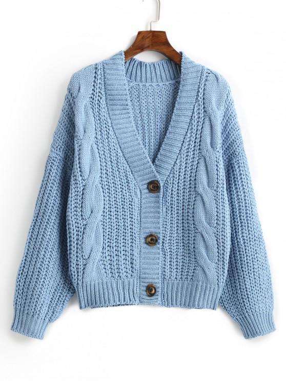 Cardigan Boutonné Simple en Tricot à Câble - Bleu Taille Unique