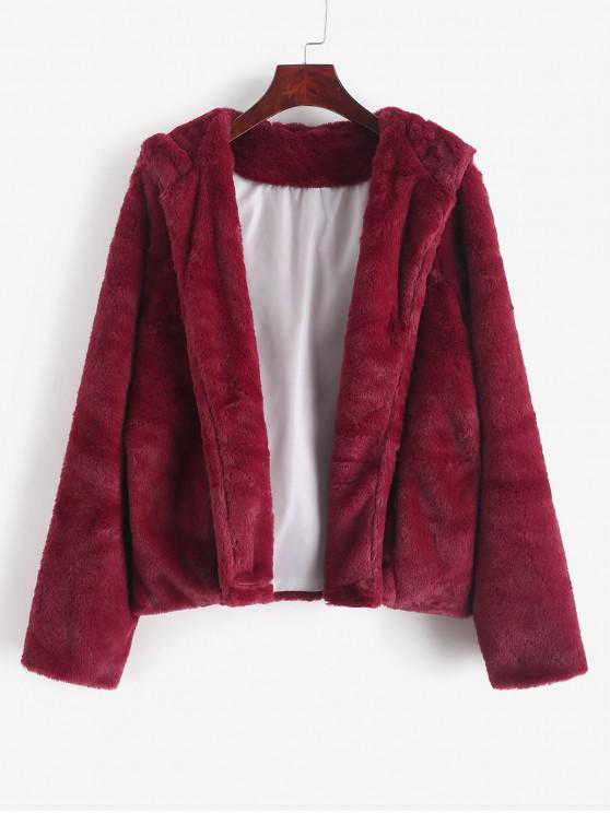 outfit Solid Color Open Front Hooded Fluffy Coat - RED WINE S