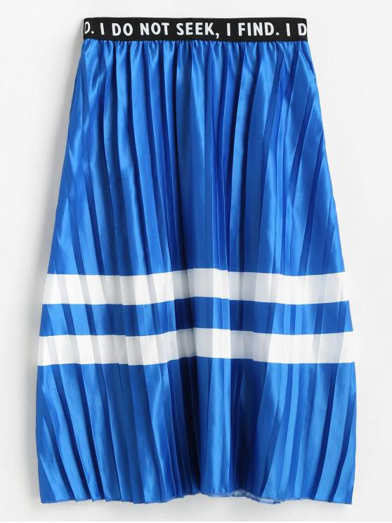 fashion Striped Panel A Line Pleated Letter Graphic Skirt - BLUE M