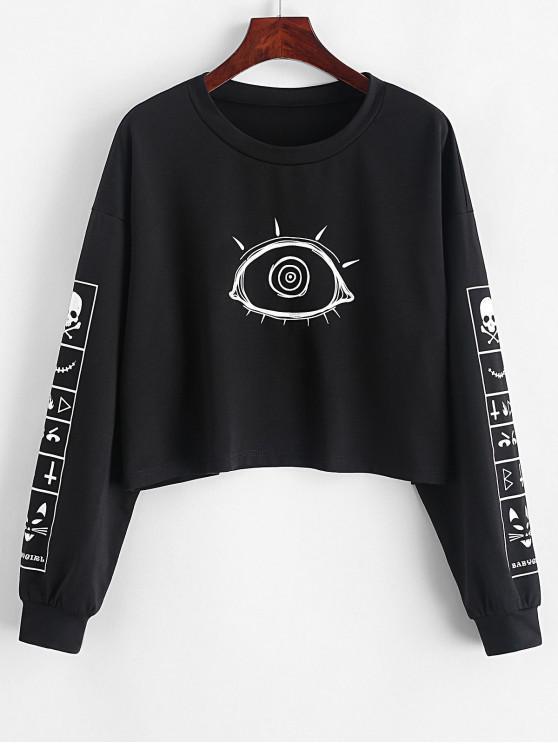 fashion ZAFUL Pullover Eye Skull Halloween Sweatshirt - BLACK M