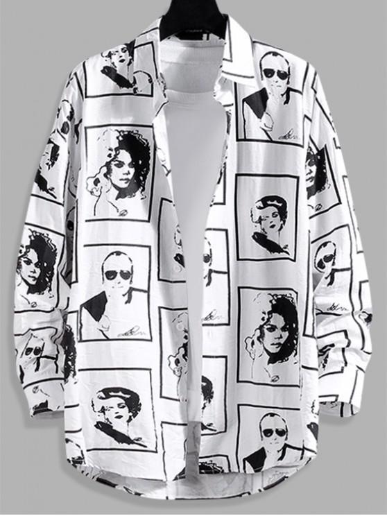 women Character Graphic Print Curved Hem Button Shirt - WHITE 3XL