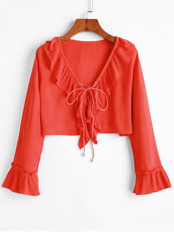 new Ruffle Lace-up Crop Top - ORANGE S