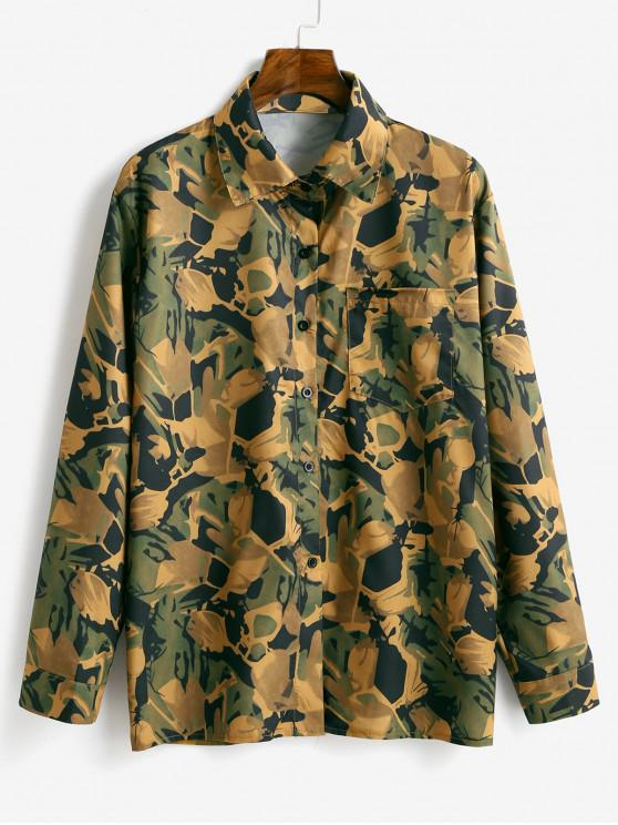 sale Button Up Camouflage Chest Pocket Shirt - BEE YELLOW ONE SIZE