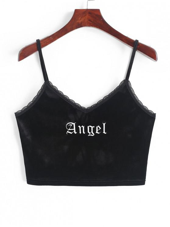 ladies ZAFUL Angel Embroidery Lace Trim Velvet Top - BLACK S