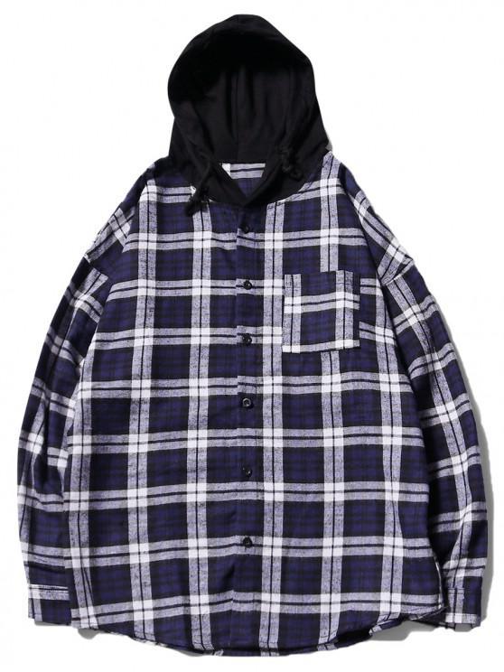 online Plaid Print Chest Pocket Curved Hem Hooded Shirt - BLUE 2XL