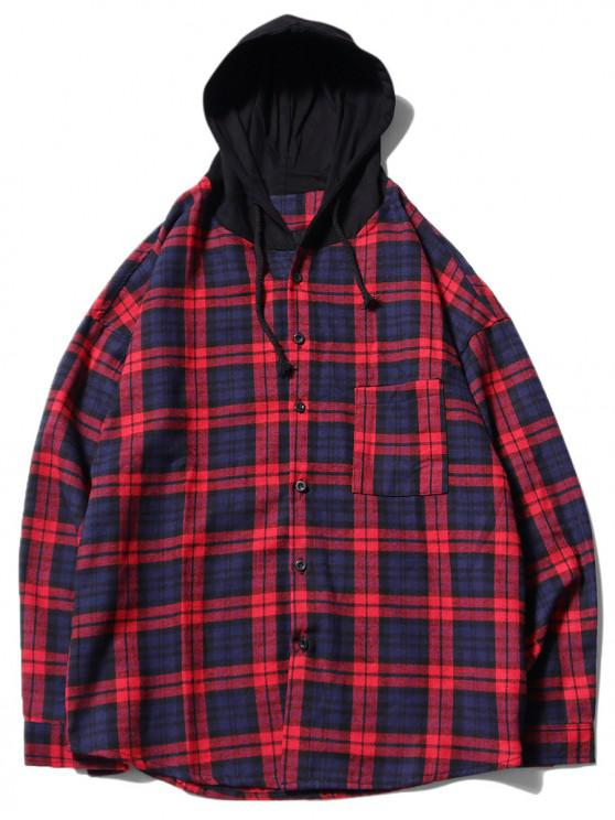 chic Plaid Print Chest Pocket Curved Hem Hooded Shirt - RED M