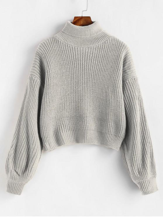 chic Turtleneck Lantern Sleeves Chunky Sweater - GRAY CLOUD ONE SIZE