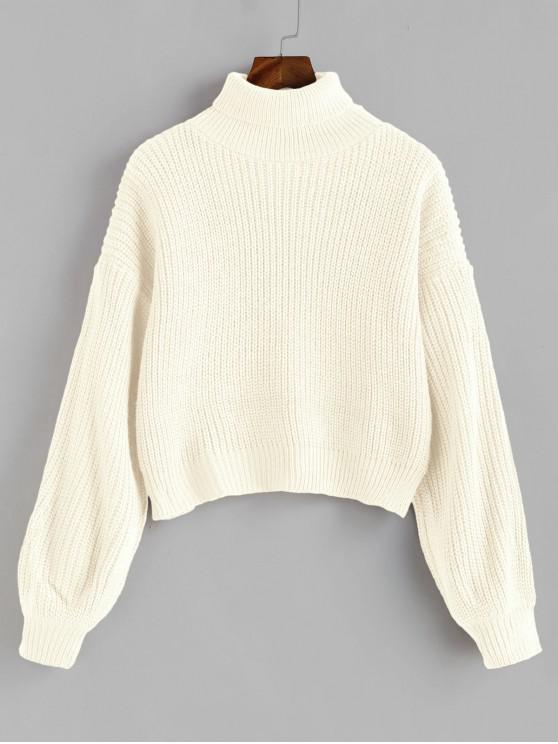 latest Turtleneck Lantern Sleeves Chunky Sweater - WARM WHITE ONE SIZE