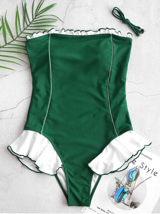 ZAFUL Контрастные цветы С оборкой Бандо Слитный Купальник - Средний морской зеленый S