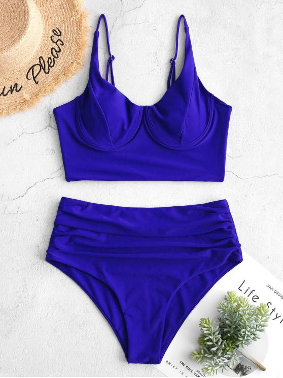 shop ZAFUL Ruched Underwire Tankini Swimsuit - COBALT BLUE M