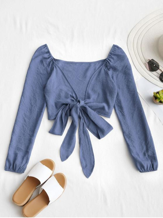 ladies Plunging Neck Tied Bowknot Crop Blouse - SLATE BLUE L