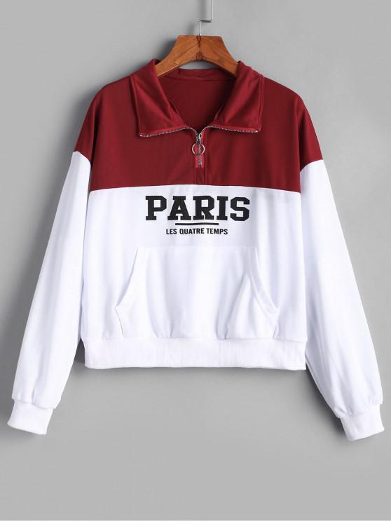 ladies Two Tone Graphic Kangaroo Pocket Pull Ring Sweatshirt - WHITE M