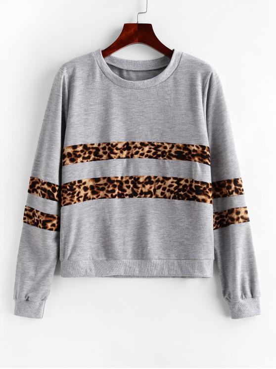 online Leopard Panel Animal Print Ribbed Hem Sweatshirt - GRAY XL