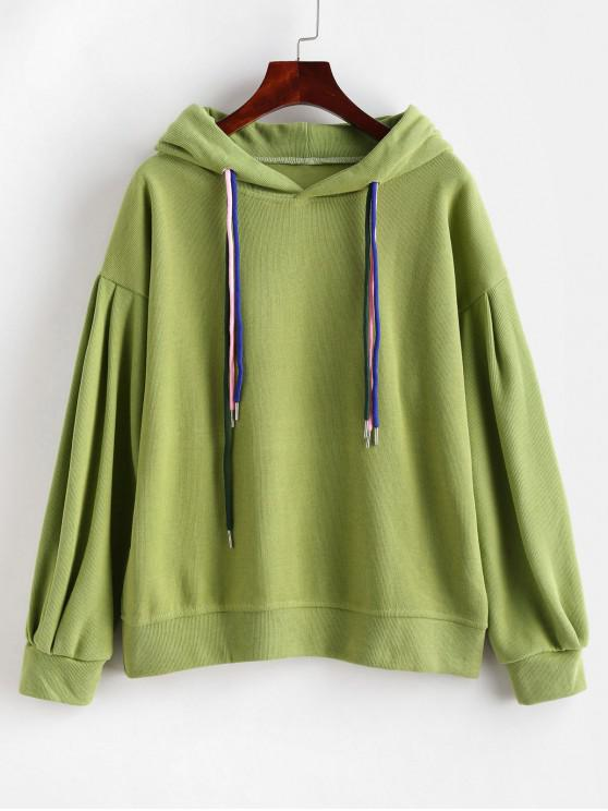 shop Drop Shoulder Drawstring Knit Pullover Hoodie - GREEN ONION L