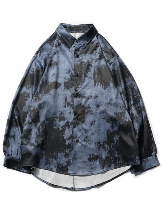 unique Tie Dye Print High Low Long Sleeve Shirt - DEEP BLUE 2XL