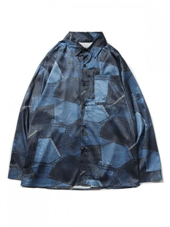 online Denim Pattern Print Pocket Long Sleeve Shirt - DEEP BLUE S