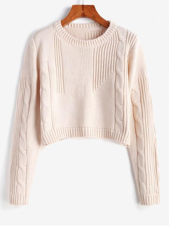 hot Cable Knit Cropped Sweater - BEIGE ONE SIZE