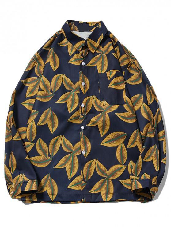 sale Plant Leaf Print Chest Pocket Button Shirt - YELLOW S