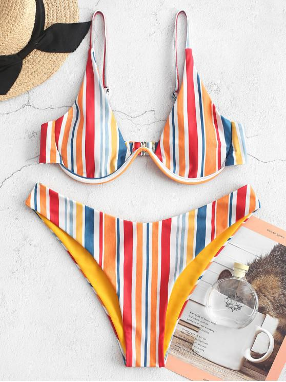 new ZAFUL Colorful Striped Underwire Reversible Bikini Swimsuit - MULTI-A M