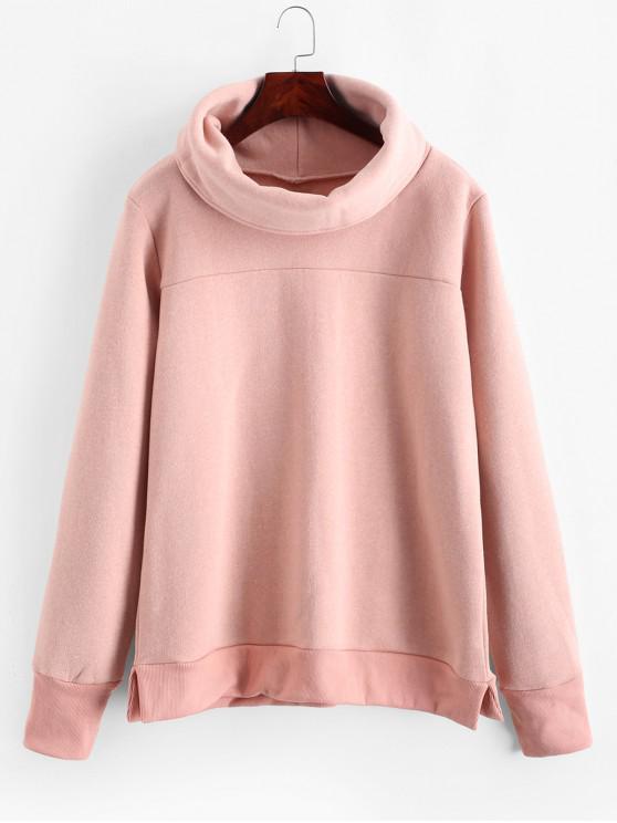 Sweat-shirt Fente Latérale en Couleur Unie à Col Roulé - Rose  L
