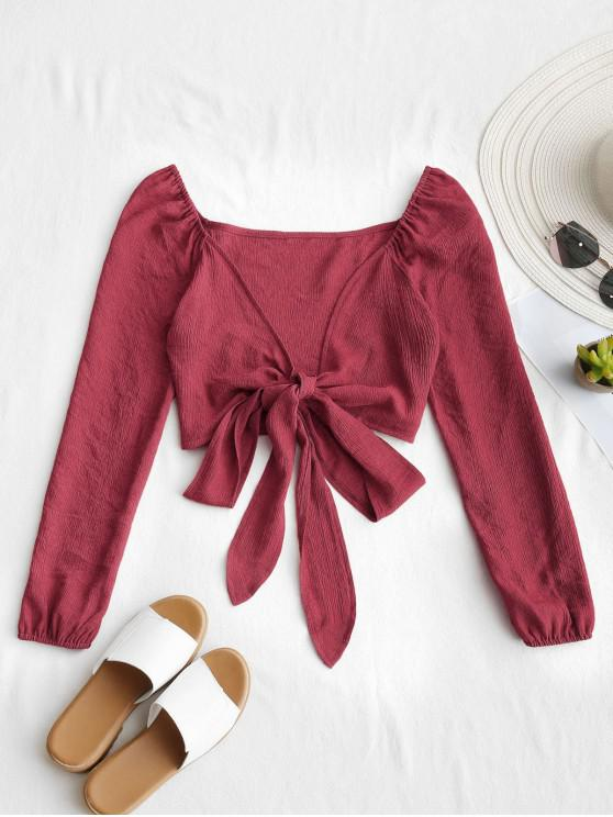 women Plunging Neck Tied Bowknot Crop Blouse - RED WINE S