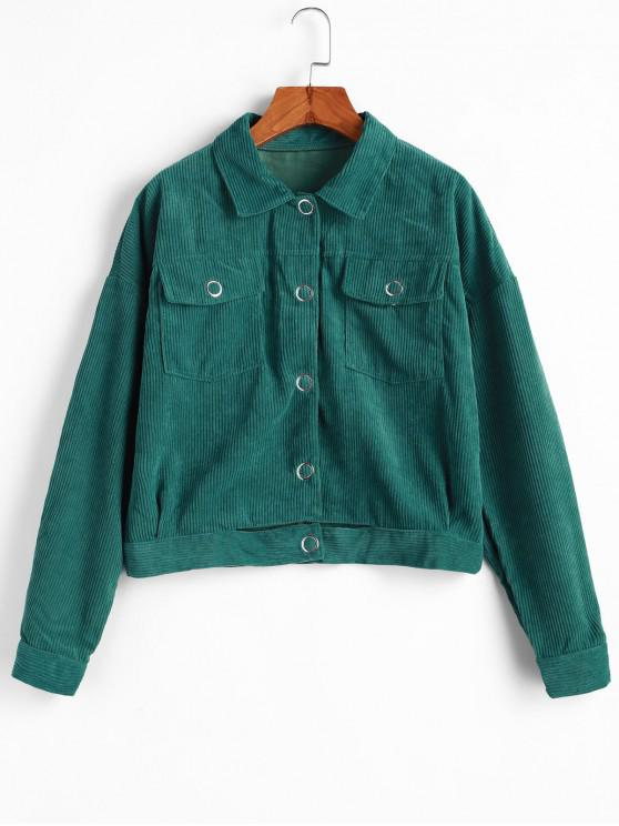 outfits Snap Button Flap Pockets Corduroy Jacket - DEEP GREEN S