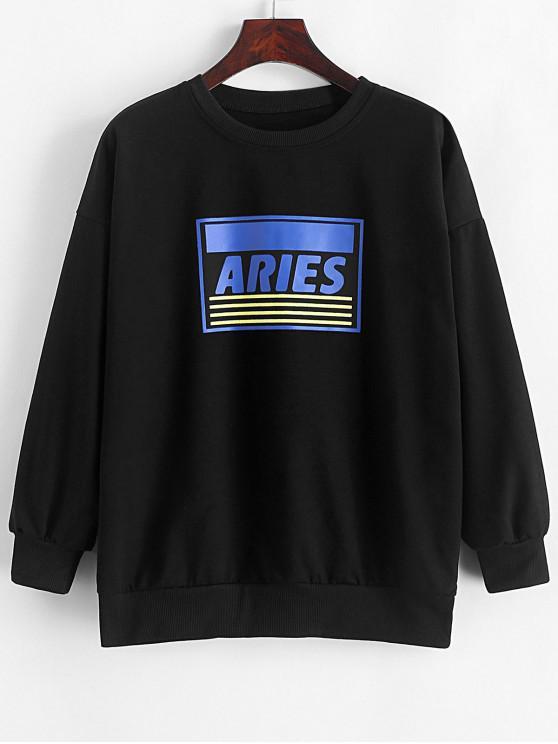 womens Aries Striped Graphic Drop Shoulder Pullover Sweatshirt - BLACK M