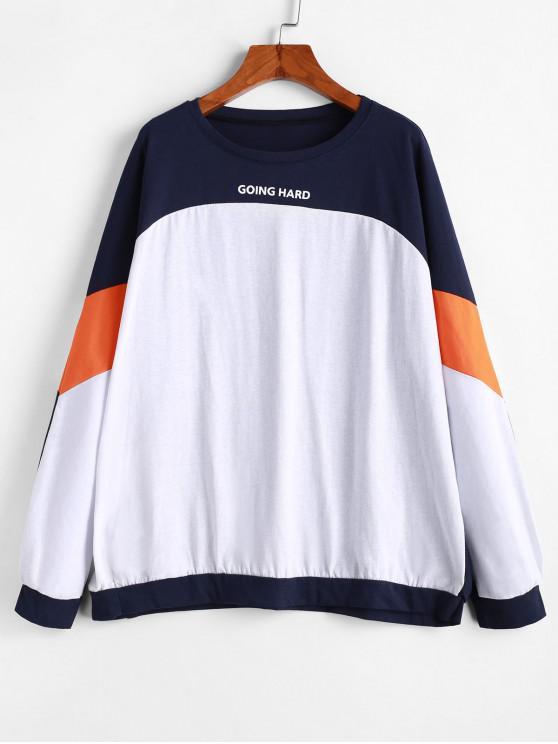 shops Colorblock Going Hard Raglan Sleeve Oversized Sweatshirt - MULTI-A ONE SIZE